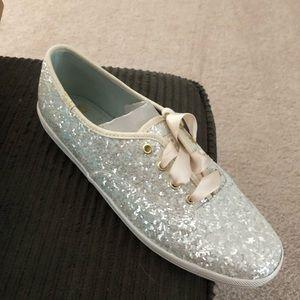 Kate Spade silver glitter Keds